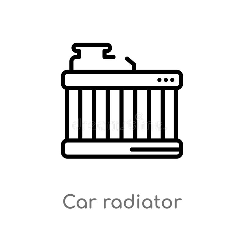 Outline car radiator vector icon. isolated black simple line element illustration from car parts concept. editable vector stroke. Car radiator icon on white royalty free illustration