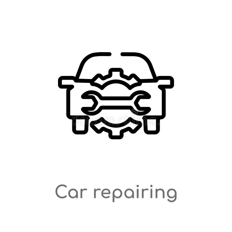 Outline car repairing vector icon. isolated black simple line element illustration from mechanicons concept. editable vector. Stroke car repairing icon on white royalty free illustration