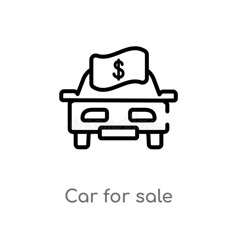 outline car for sale vector icon. isolated black simple line element illustration from mechanicons concept. editable vector stroke stock illustration