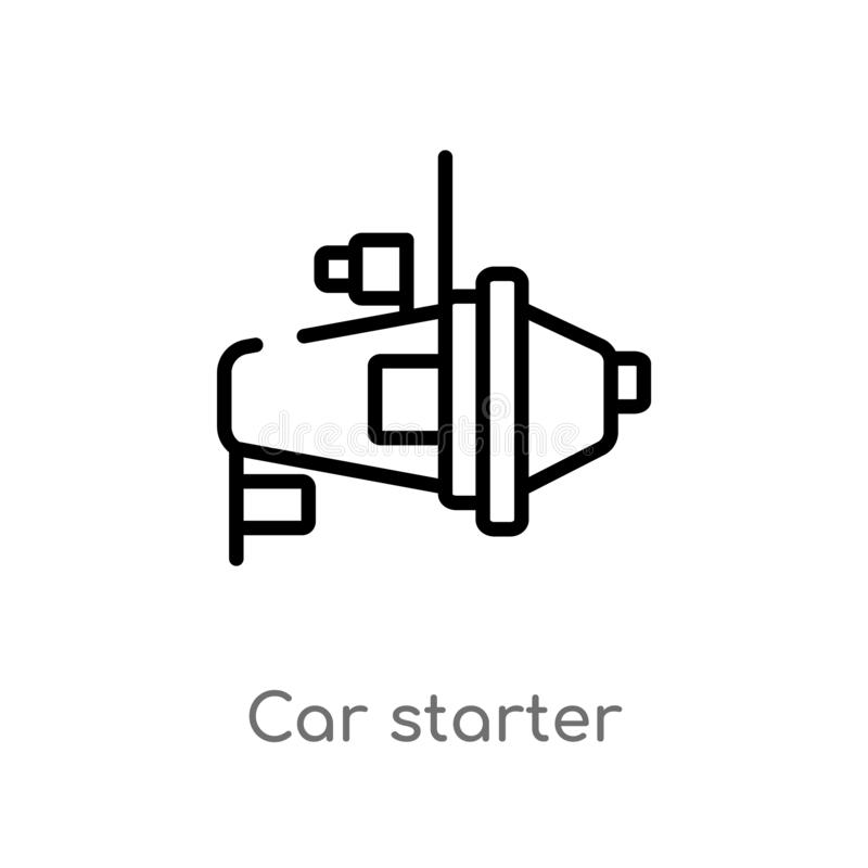 Outline car starter vector icon. isolated black simple line element illustration from car parts concept. editable vector stroke. Car starter icon on white stock illustration