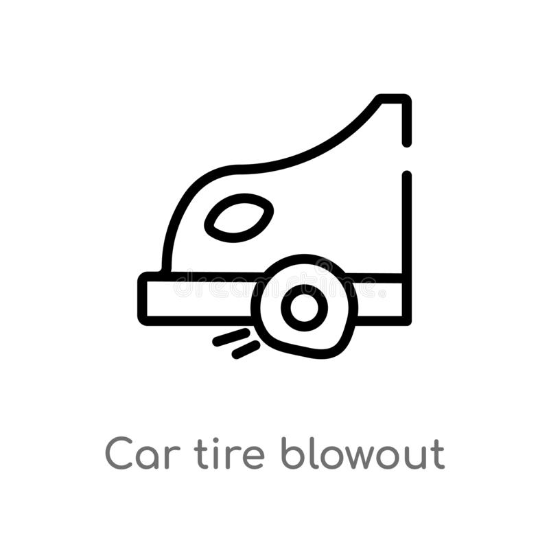 outline car tire blowout vector icon. isolated black simple line element illustration from transport concept. editable vector royalty free illustration