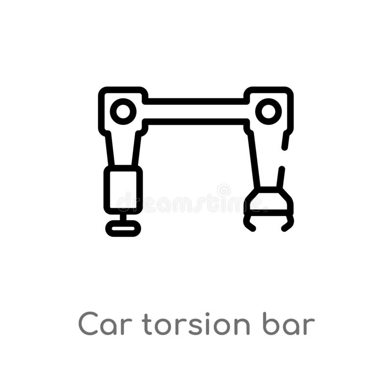 Outline car torsion bar vector icon. isolated black simple line element illustration from car parts concept. editable vector. Stroke car torsion bar icon on stock illustration