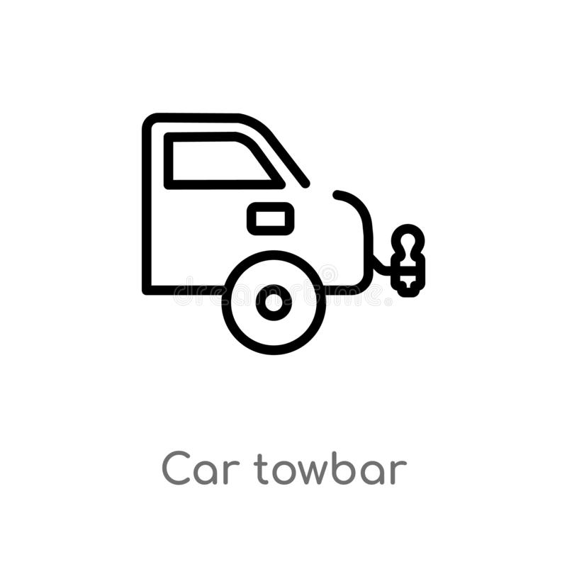 Outline car towbar vector icon. isolated black simple line element illustration from car parts concept. editable vector stroke car. Towbar icon on white vector illustration