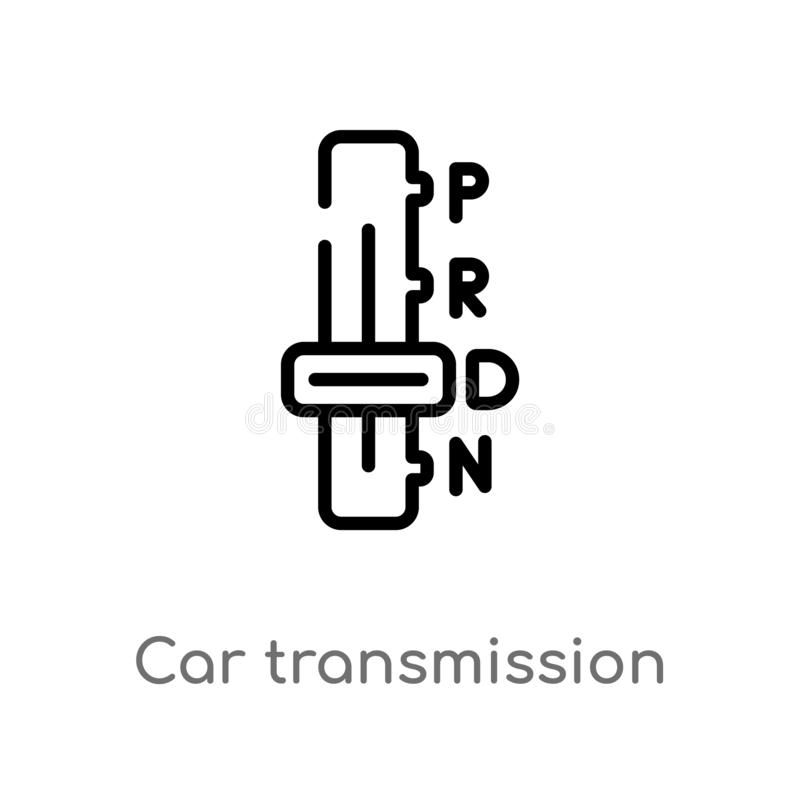 Outline car transmission vector icon. isolated black simple line element illustration from car parts concept. editable vector. Stroke car transmission icon on royalty free illustration