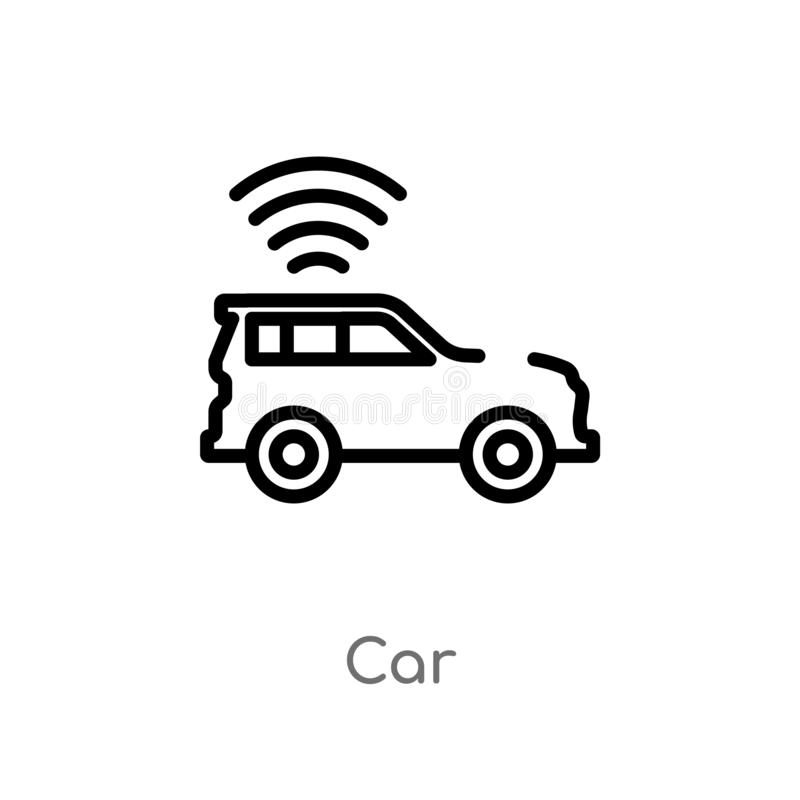 Outline car vector icon. isolated black simple line element illustration from artificial intelligence concept. editable vector. Stroke car icon on white vector illustration