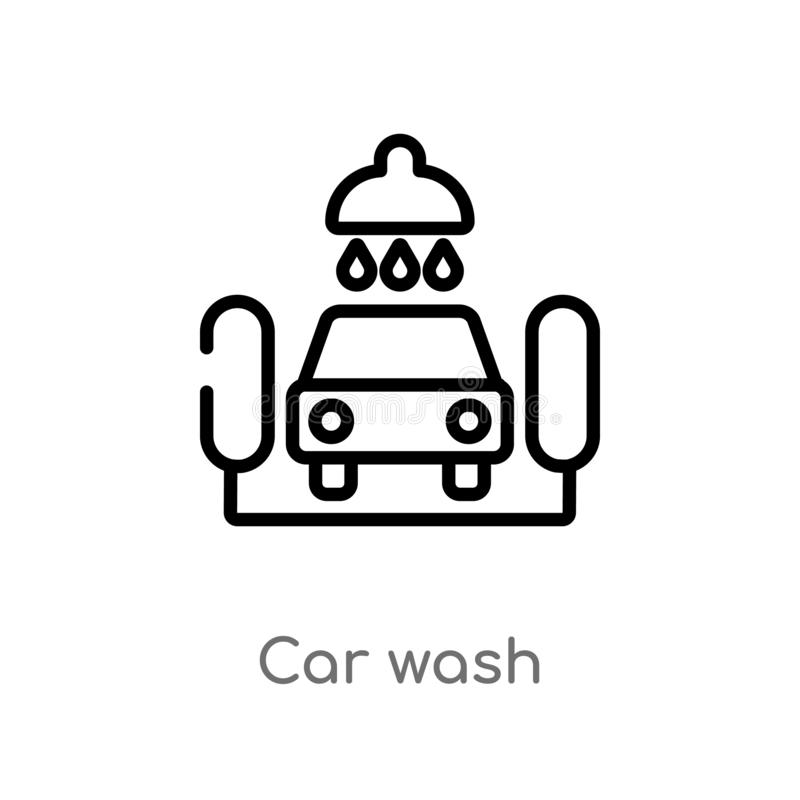Outline car wash vector icon. isolated black simple line element illustration from ultimate glyphicons concept. editable vector. Stroke car wash icon on white stock illustration