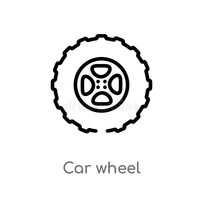 Outline car wheel vector icon. isolated black simple line element illustration from mechanicons concept. editable vector stroke. Car wheel icon on white stock illustration