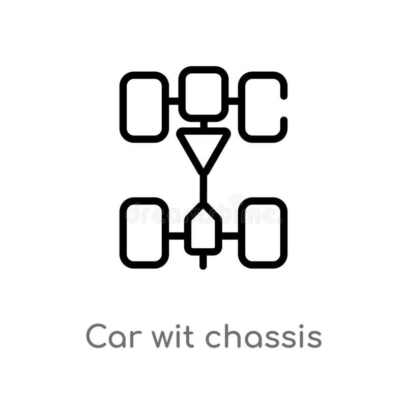 Outline car wit chassis vector icon. isolated black simple line element illustration from transport concept. editable vector. Stroke car wit chassis icon on royalty free illustration
