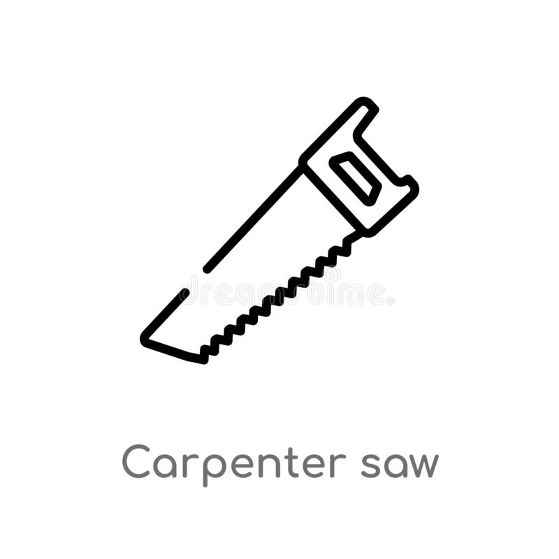 outline carpenter saw vector icon. isolated black simple line element illustration from tools concept. editable vector stroke vector illustration
