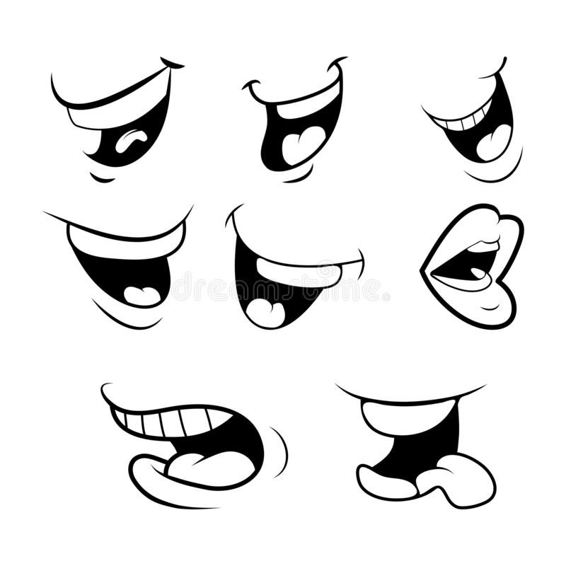 Outline Cartoon Mouth Set . Tongue, Smile, Teeth. Expressive Emo stock illustration