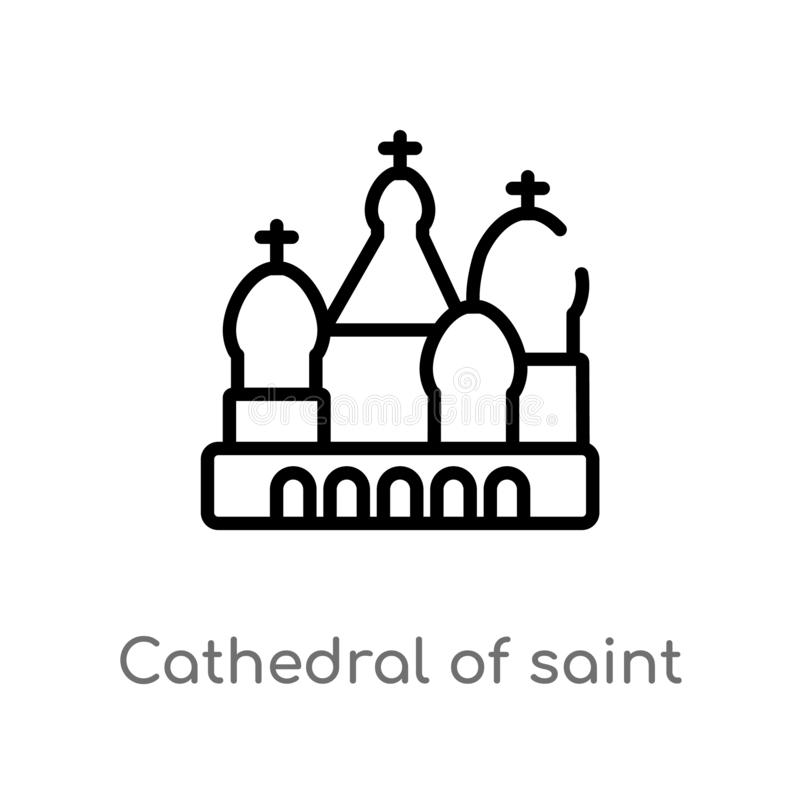 Outline cathedral of saint basil vector icon. isolated black simple line element illustration from buildings concept. editable. Vector stroke cathedral of saint stock illustration
