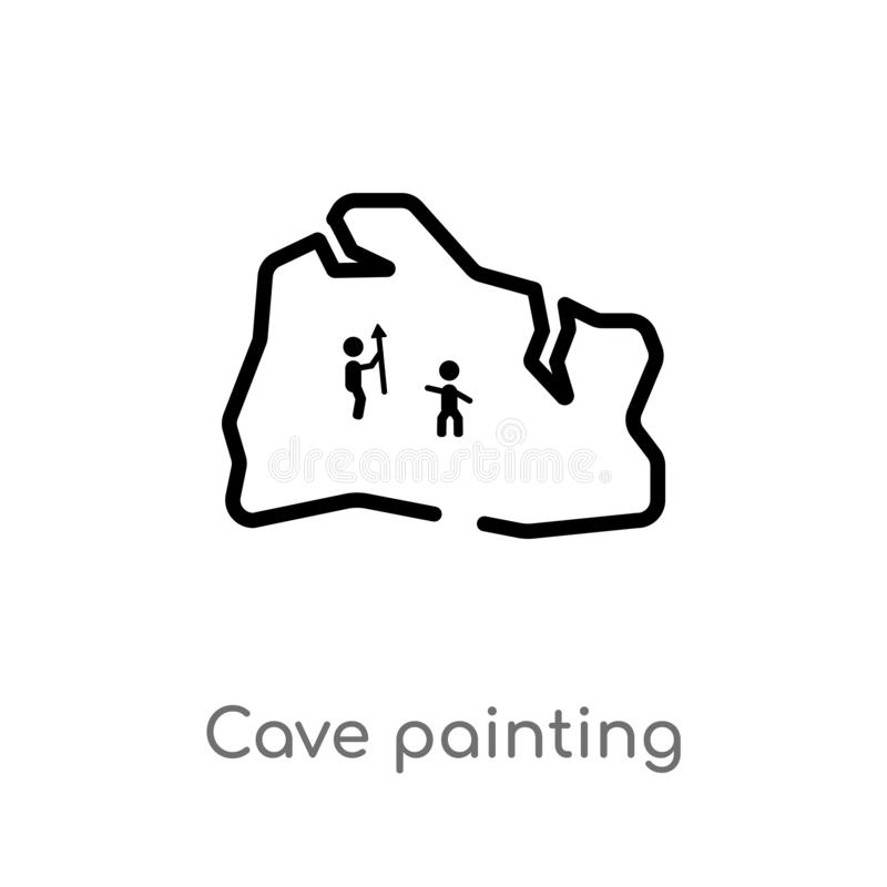 Outline cave painting vector icon. isolated black simple line element illustration from stone age concept. editable vector stroke. Cave painting icon on white vector illustration