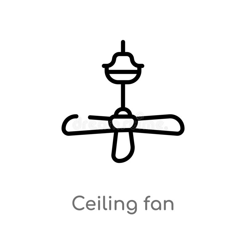 Outline ceiling fan vector icon. isolated black simple line element illustration from electronic devices concept. editable vector. Stroke ceiling fan icon on stock illustration