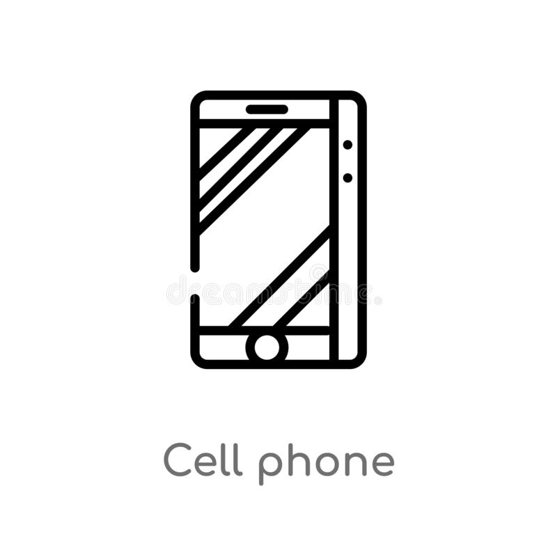 Outline cell phone vector icon. isolated black simple line element illustration from electronic devices concept. editable vector. Stroke cell phone icon on stock illustration