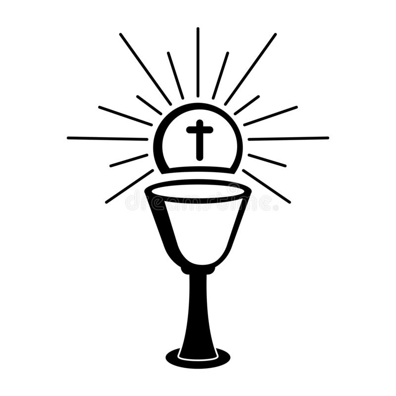 Outline of a chalice and host. Holy week. Vectot illustration design royalty free illustration