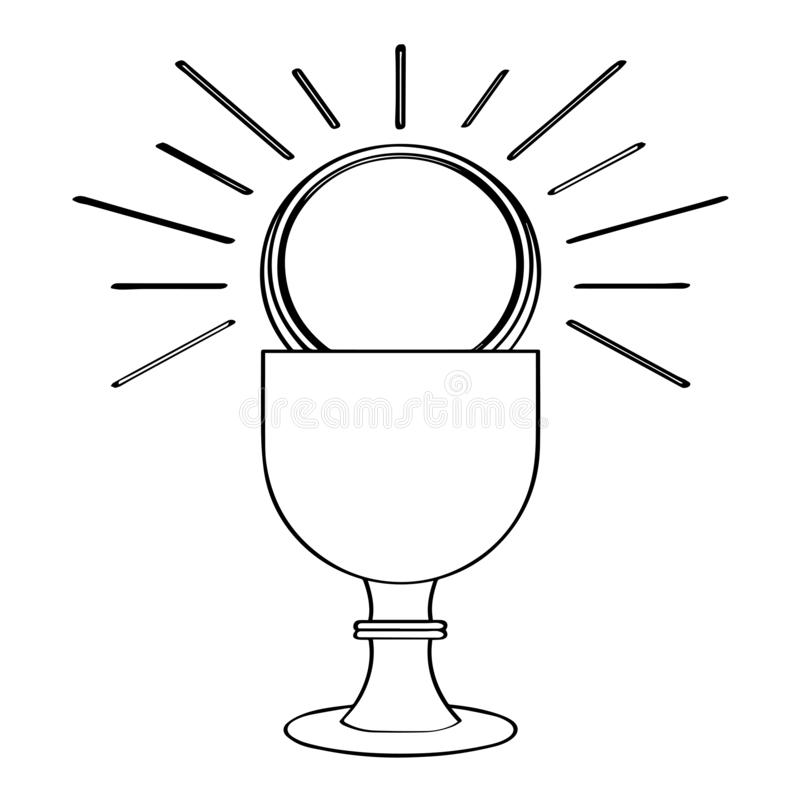 Outline of a chalice with a host. Holy week. Vector illustration design stock illustration