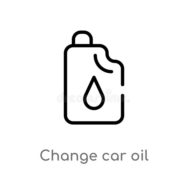 Outline change car oil vector icon. isolated black simple line element illustration from mechanicons concept. editable vector. Stroke change car oil icon on vector illustration