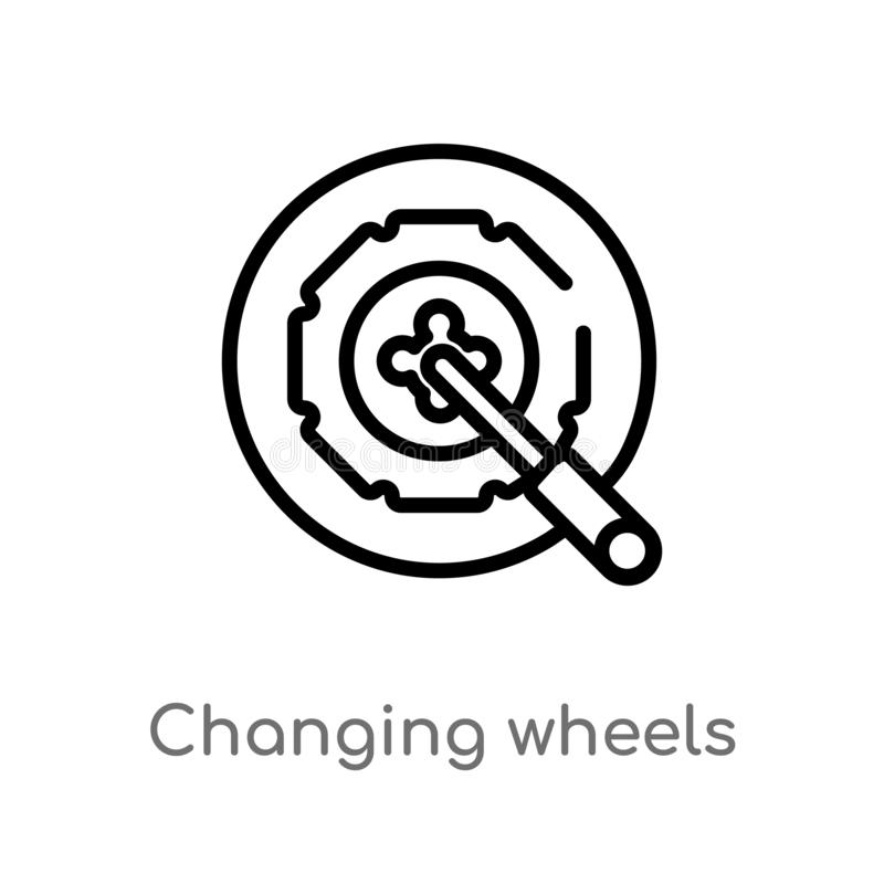 outline changing wheels tool vector icon. isolated black simple line element illustration from mechanicons concept. editable royalty free illustration