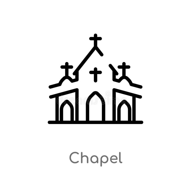 outline chapel vector icon. isolated black simple line element illustration from winter concept. editable vector stroke chapel royalty free illustration