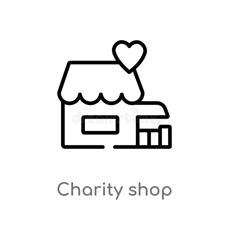 outline charity shop vector icon. isolated black simple line element illustration from charity concept. editable vector stroke royalty free illustration