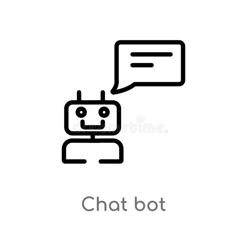 outline chat bot vector icon. isolated black simple line element illustration from general-1 concept. editable vector stroke chat vector illustration