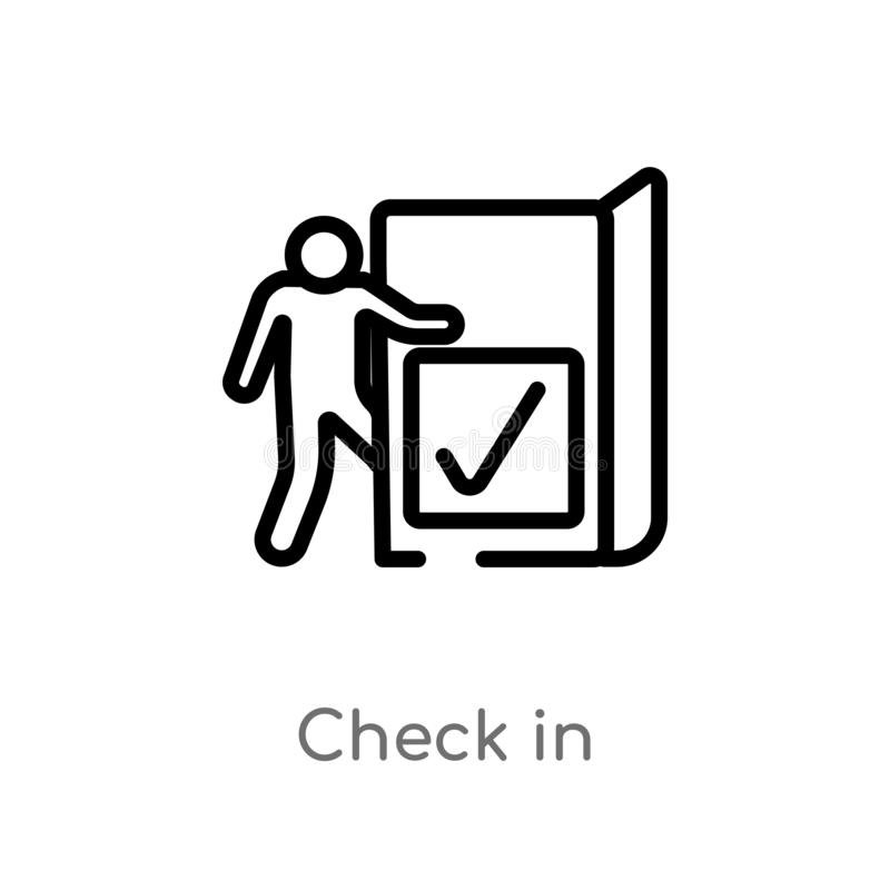 Outline check in vector icon. isolated black simple line element illustration from accommodation concept. editable vector stroke. Check in icon on white vector illustration