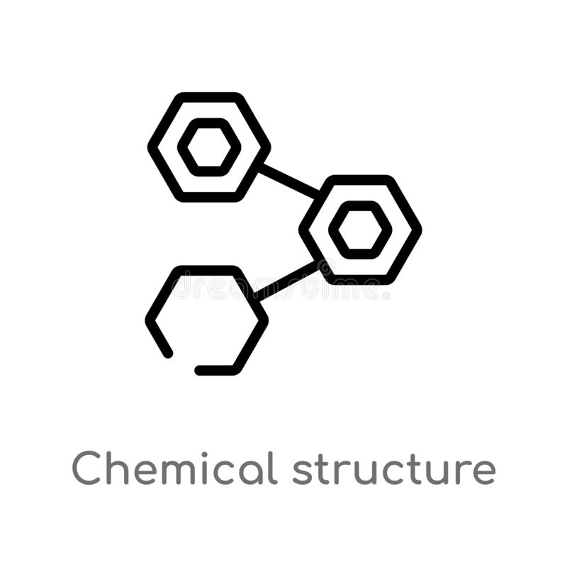 Outline chemical structure vector icon. isolated black simple line element illustration from nature concept. editable vector. Stroke chemical structure icon on royalty free illustration