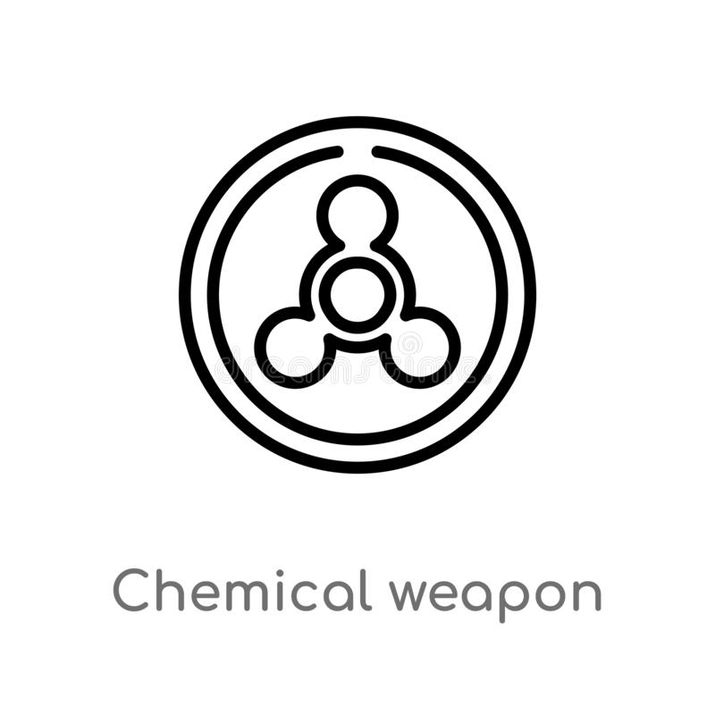outline chemical weapon vector icon. isolated black simple line element illustration from industry concept. editable vector stroke stock illustration
