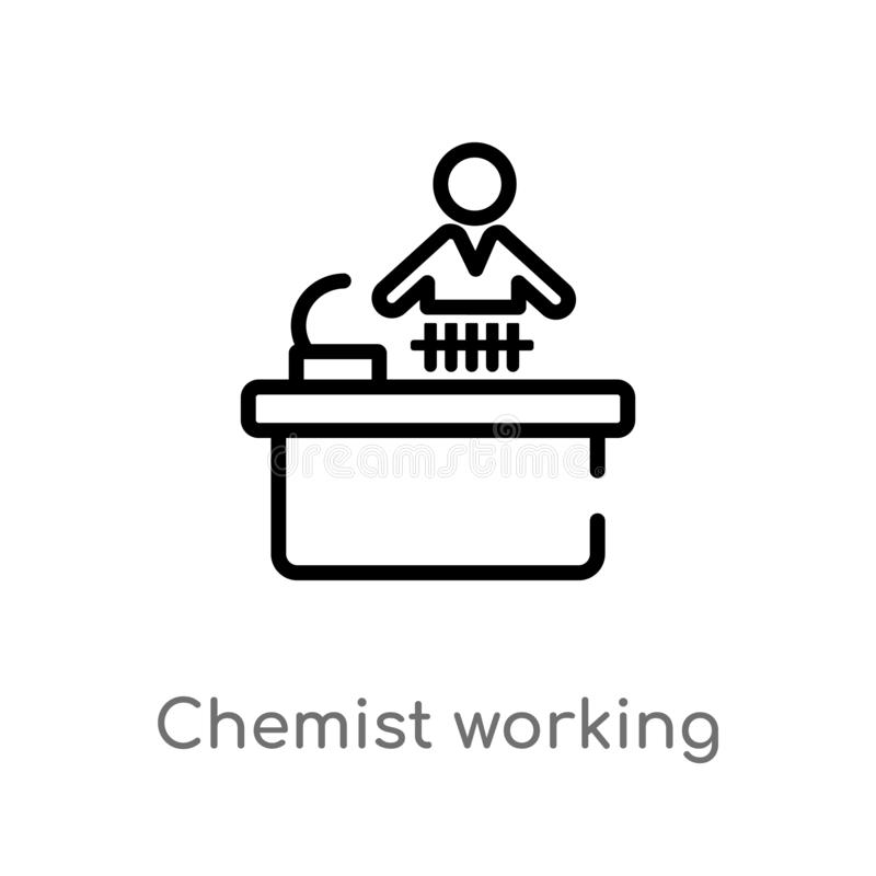 Outline chemist working vector icon. isolated black simple line element illustration from people concept. editable vector stroke. Chemist working icon on white royalty free illustration