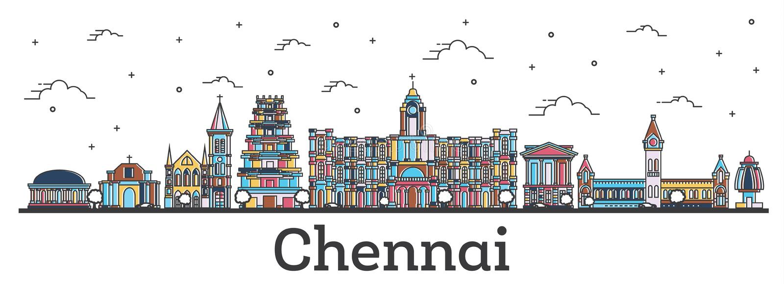 Outline Chennai India City Skyline with Color Buildings Isolated. On White. Vector Illustration. Chennai Cityscape with Landmarks royalty free illustration