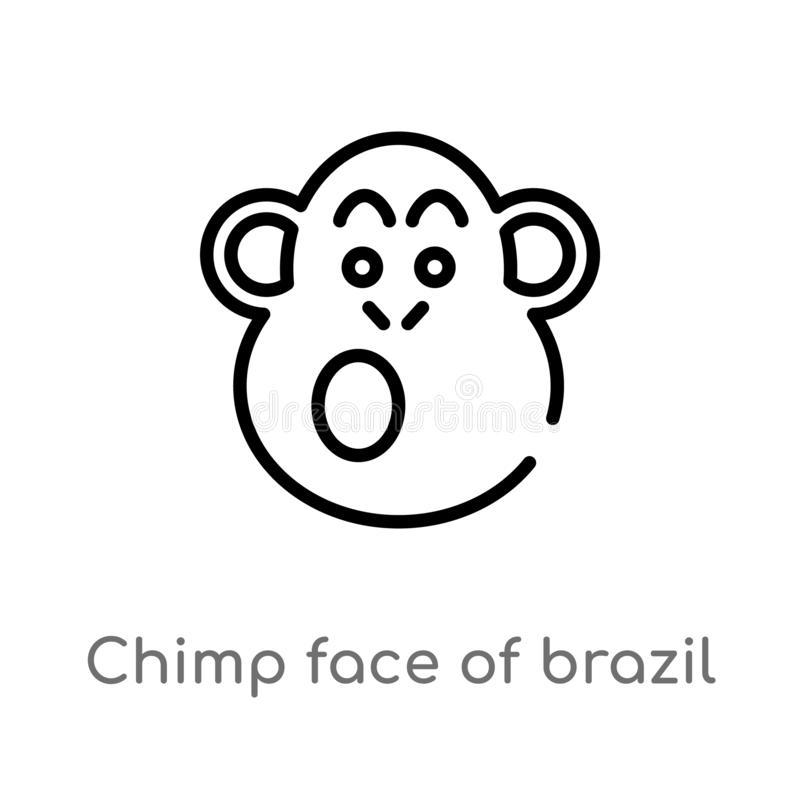 outline chimp face of brazil vector icon. isolated black simple line element illustration from culture concept. editable vector stock illustration