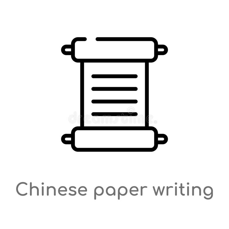 outline chinese paper writing vector icon. isolated black simple line element illustration from art concept. editable vector stock illustration