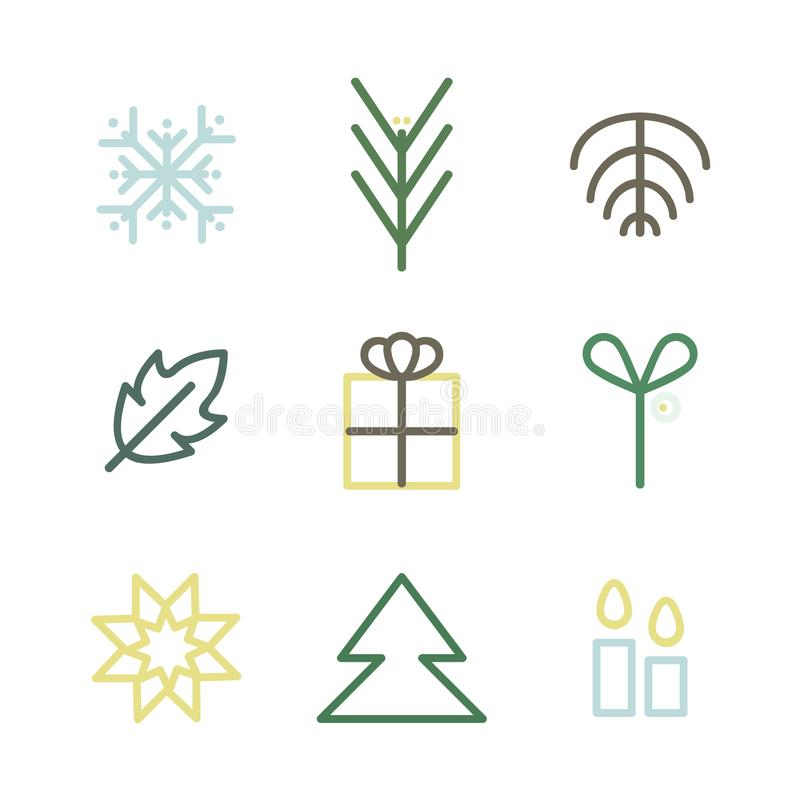 Outline Christmas symbols stock photography