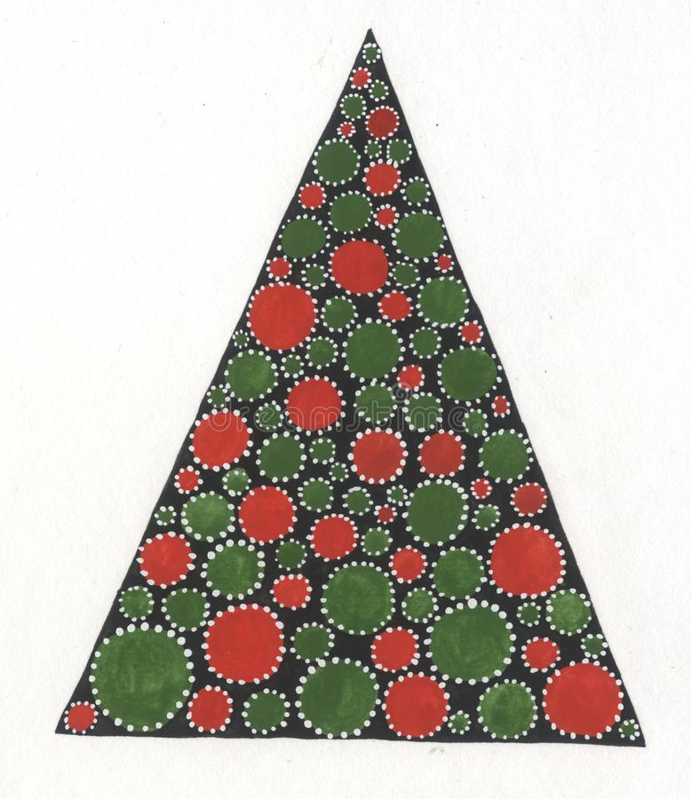 Outline of Christmas tree with red and green balls on black background. Triangular shape with circles. stock photos