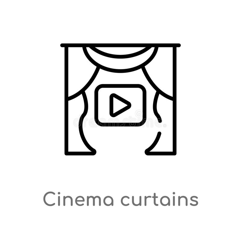 outline cinema curtains vector icon. isolated black simple line element illustration from cinema concept. editable vector stroke vector illustration
