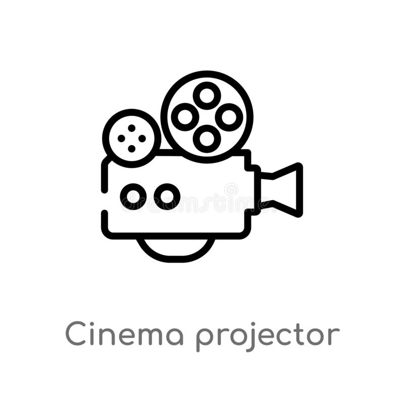 outline cinema projector vector icon. isolated black simple line element illustration from technology concept. editable vector stock illustration