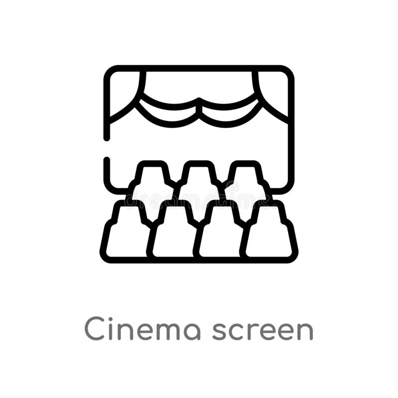 Outline cinema screen vector icon. isolated black simple line element illustration from cinema concept. editable vector stroke. Cinema screen icon on white royalty free illustration
