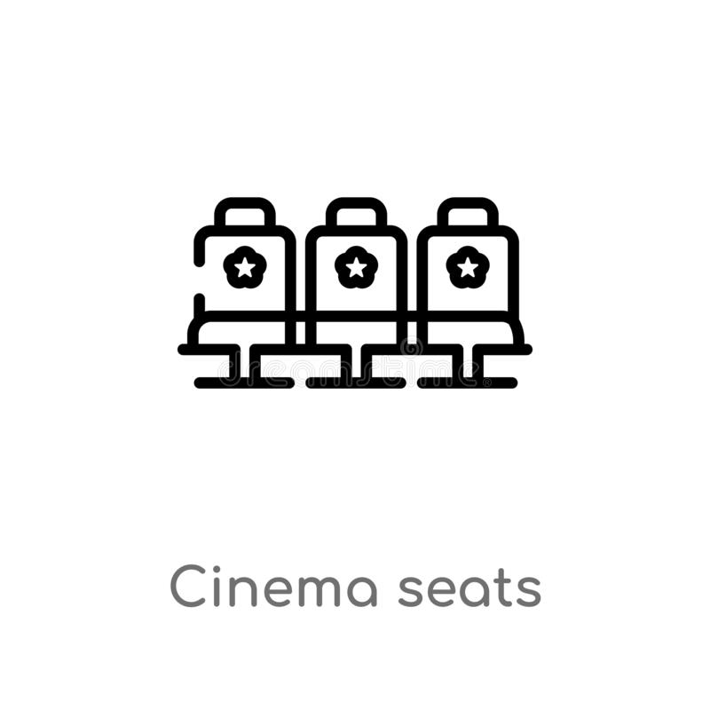 outline cinema seats vector icon. isolated black simple line element illustration from cinema concept. editable vector stroke vector illustration