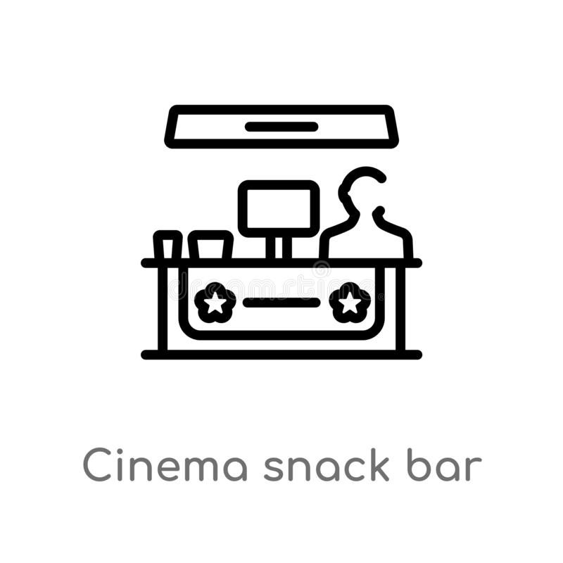 Outline cinema snack bar vector icon. isolated black simple line element illustration from cinema concept. editable vector stroke. Cinema snack bar icon on royalty free illustration