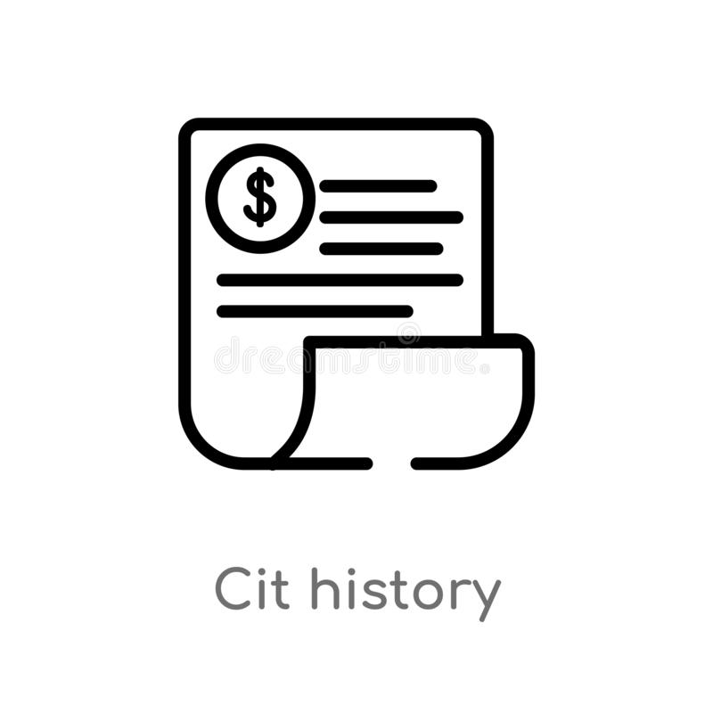 outline cit history vector icon. isolated black simple line element illustration from general-1 concept. editable vector stroke stock illustration
