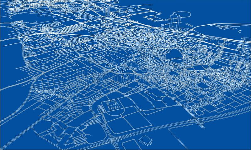 Outline city concept. Wire-frame style. Outline city concept vector. Wire-frame style. The layers of visible and invisible lines. 3D illustration stock photography