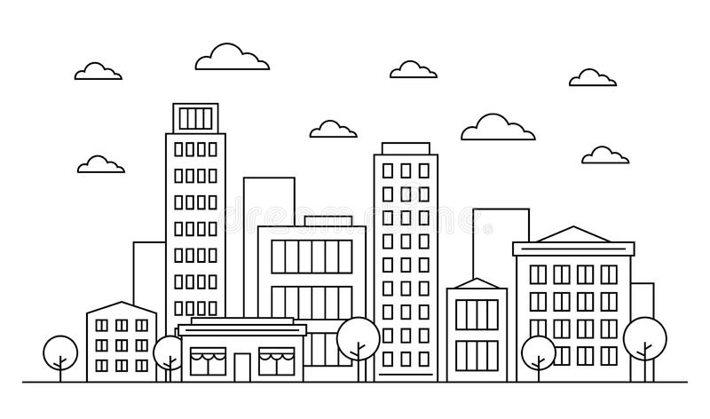 Outline city landscape skyline design concept with buildings, scyscrapers, trees, clouds and cafe. Vector, graphic illustration. royalty free illustration