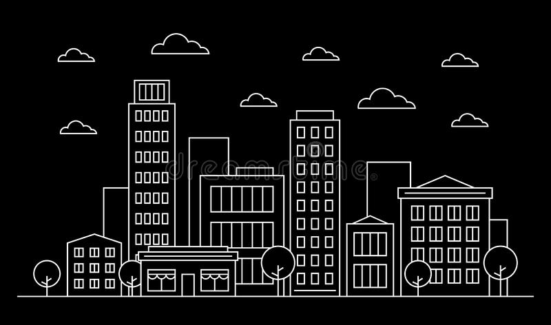 Outline city landscape skyline design concept with buildings, scyscrapers, trees, clouds and cafe. White contour vector illustration