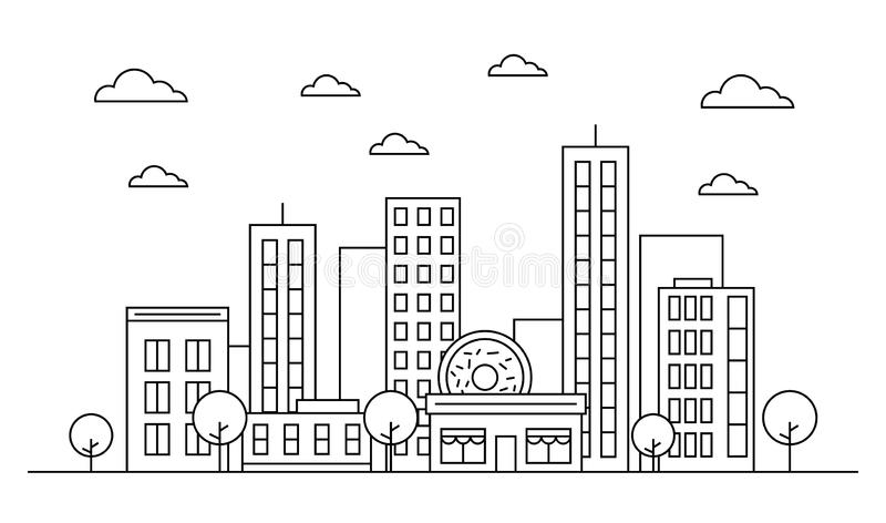 Outline city skyline landscape design concept with buildings, scyscrapers, donut shop cafe,clouds,trees. Vector, graphic vector illustration