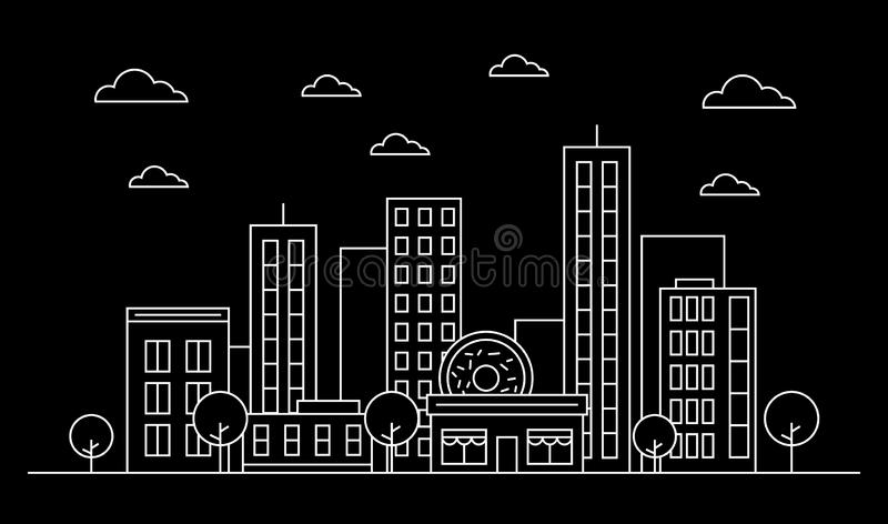 Outline city skyline landscape design concept with buildings, scyscrapers, donut shop cafe,clouds,trees.White contour.Vector stock illustration