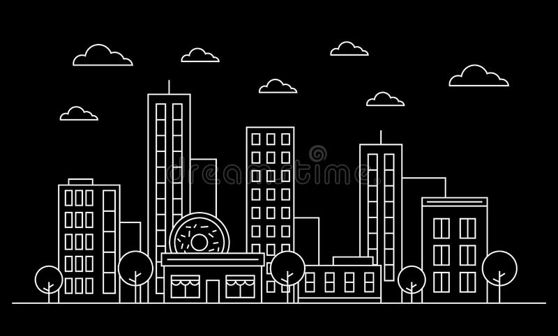 Outline city skyline landscape facade concept with buildings, scyscrapers, donut shop cafe,clouds,trees.White contour.Vector vector illustration