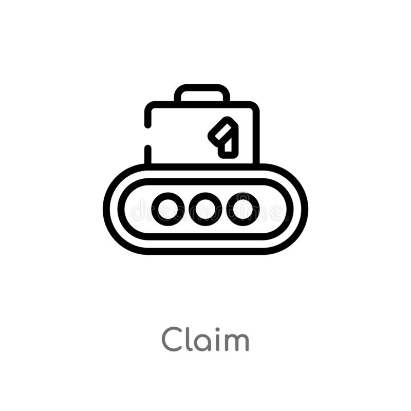 outline claim vector icon. isolated black simple line element illustration from travel concept. editable vector stroke claim icon royalty free illustration