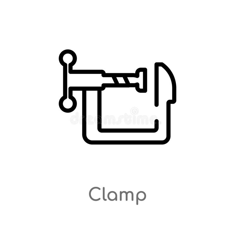 outline clamp vector icon. isolated black simple line element illustration from industry concept. editable vector stroke clamp vector illustration