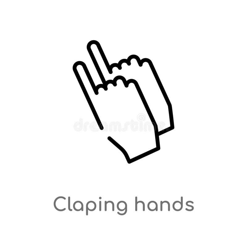outline claping hands vector icon. isolated black simple line element illustration from party concept. editable vector stroke stock illustration