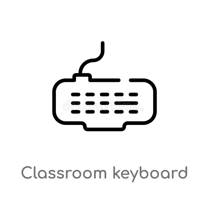 outline classroom keyboard vector icon. isolated black simple line element illustration from computer concept. editable vector royalty free illustration
